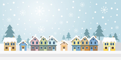 Winter Houses with Snowing Background, Panorama, Mountain and Forrest Scene