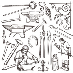 Hand drawn sketch blacksmith set