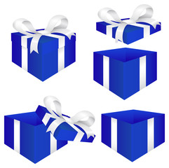 Gift Box with white Ribbon bow. Blue gift box for men.