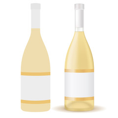 A bottle of white wine with blank label.