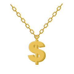 Gold dollar on chain. Decoration for rap artists. Accessory of p