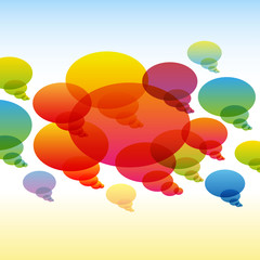 Rainbow transparent chat bubbles on colorful background
