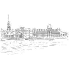 Stockholm. Vintage vector city sketching for your design