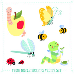 Funny doodle cartoon insects vector set