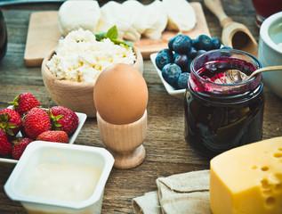 Summer breakfast on a wooden table