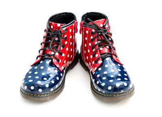 funny boots with polka dots