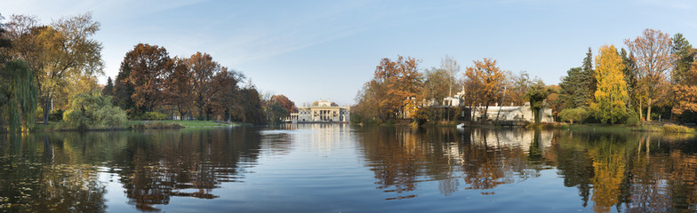 Panorama of Royal Palace on the Water in the Lazienki Park, Wars