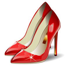 Cartoon Red Women Shoes on white background.