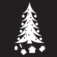 Stencil Christmas tree with gifts