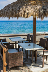 Tables in cafe on the beach