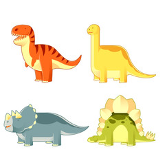 Set of colourful dinosaurs