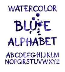 Watercolor hand written purple alphabet. Vector watercolor