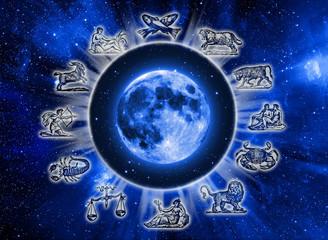 zodiac symbols and Moon