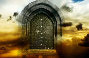 Wall Mural - mystical magic gate in cloudy sky with copy space