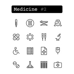 Set line thin icons. Vector. Medicine