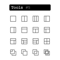 Set line thin icons. Vector. Tools editor