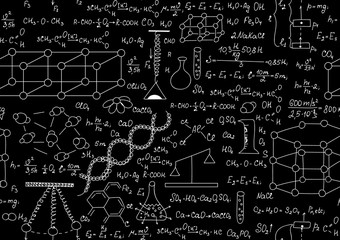 Scientific vector seamless pattern with chemical and physical formulas, plots and schemes. Endless texture. You can use any color of background