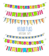 Vector Illustration of colorful flag garlands on white  background. Retro colors buntings and flags. Holiday set