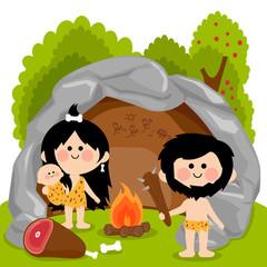 Cavemen family in stone cave