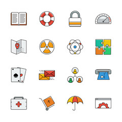 Icons vector set. Color line signs. Web elemens