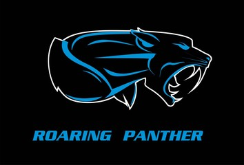 panther. panther head, roaring fang face in the dark. roaring rampage panther. muscular fang face. beast.