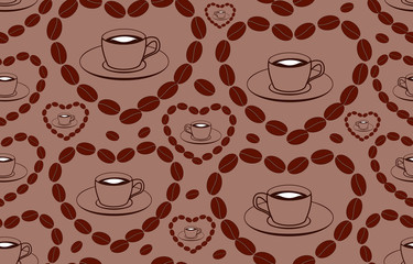 Decorative vector seamless pattern with coffee cups and hearts made of coffee beans. Endless texture. You can use any color of background