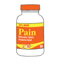 Pain Medication Bottle for when you Get Hurt on the Job or Have Back Pain or Even a Simple Headache. The Capsules, Gel Tabs, or Tablets will Help You Feel Healthy and Strong. The Drug Relieves Pain!