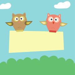 Pair of owls fly with banner