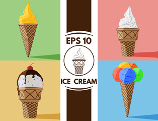 Flat Ice cream collection eps10