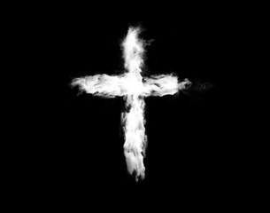 Cloud cross isolated over black background