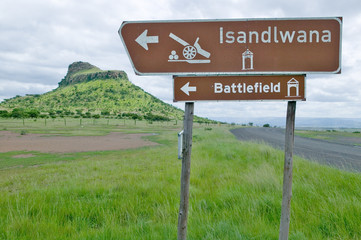 Sign for Isandlwana Battlefield, the scene of the Anglo Zulu battle site of January 22, 1879. The great Battlefield of Isandlwana and the Oskarber, Zululand, northern Kwazulu Natal, South Africa