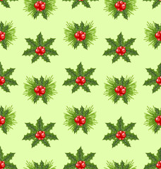 Seamless Pattern Christmas Holly Berry