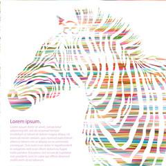 Animal illustration of watercolor zebra silhouette.