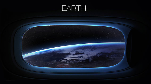 Earth - Beauty of solar system planet in spaceship window porthole. Elements of this image furnished by NASA
