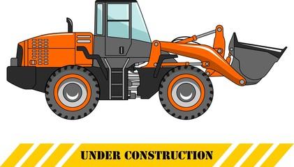 Wheel loader. Heavy construction machine. Vector illustration