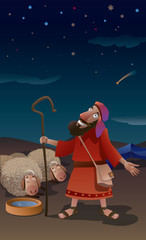 Illustration Abraham tending a flock of sheep at night looking at the starry sky.