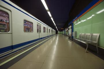 Train at Metro subway train station in Madrid, Spain