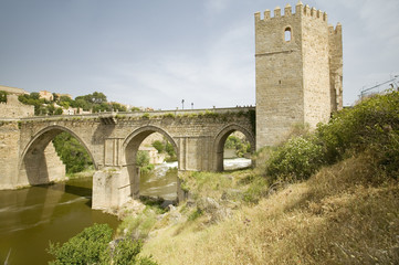 Aqueduct and archway over Tagus River and Toledo, Spain