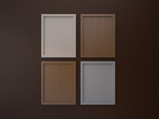 blank frame on interior wall coffee brown tone color