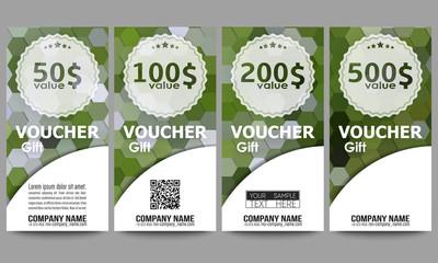 Set of modern gift voucher templates. Polygonal design vector, colorful geometric hexagonal backgrounds