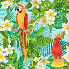Foto op Canvas Papegaai Tropical Flowers and Birds Background - Vintage Seamless Pattern