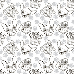 Vector seamless pattern with faces dogs and traces. Monochrome background