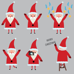 Vector set of cute Santa Claus with different emotion for web design, website. Minimaistic  flat style
