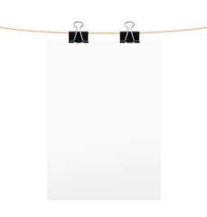 White paper sheet with black clips on rope. Vector illustration