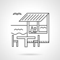 Beach bar flat line vector icon