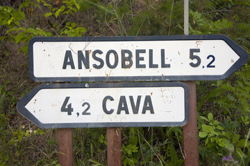 Road signs to Ansobell and Cava Medieval villages in Pyrenees Mountains, near La Seu d'Urgell, Cataluna, province of Lleida, off N-260 Road, Spain, Europe