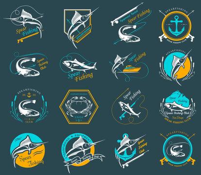Set Spearfishing Logos and Badges