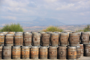 barriles de madera en los campos de La Rioja