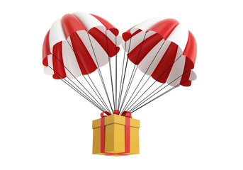 Parachute with a gift box. 3d illustration on white background
