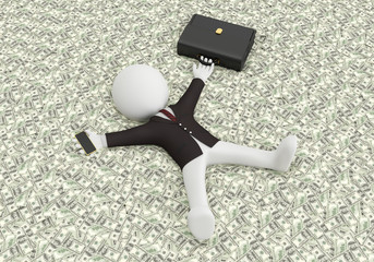 3d white people lying on the money,3d image